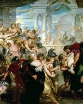 The Rape of the Sabine Women, c.1635-40 (oil on panel) mural wallpaper thumbnail