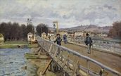 Footbridge at Argenteuil, 1872 (oil on canvas) wall mural thumbnail