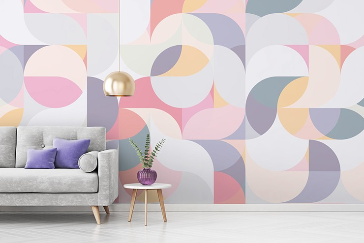 circular patterns in pastel shades wallpaper in purple and grey lounge