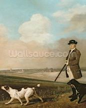 Sir John Nelthorpe, 6th Baronet out Shooting with his Dogs in Barton Field, Lincolnshire, 1776 (oil on panel) wall mural thumbnail