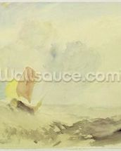 A Sea Piece - A Rough Sea with a Fishing Boat, 1820-30 (w/c on paper) wallpaper mural thumbnail