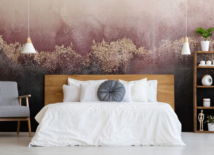 pink gold wall mural bedroom