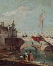 Landscape with a Canal (oil on canvas) wall mural thumbnail
