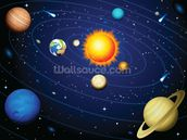 Colourful Solar System wall mural thumbnail