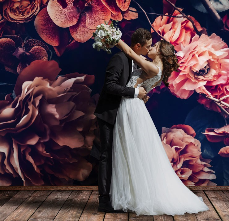dark floral wedding selfie backdrop