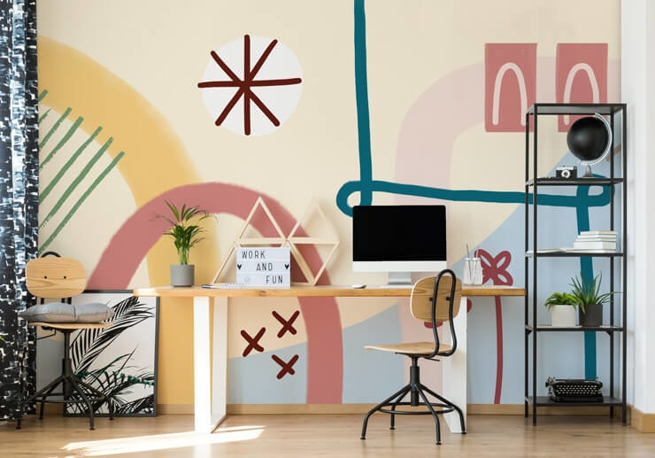 pink, blue and orange line art wallpaper in cool home office