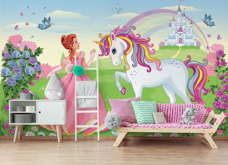cartoon of beautiful princess and unicorn wallpaper in girls bedroom