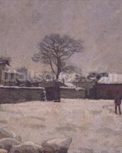 Under Snow: the farmyard at Marly-le-Roi, 1876 (oil on canvas) wall mural thumbnail