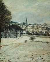 The Snow at Marly-le-Roi, 1875 (oil on canvas) wallpaper mural thumbnail