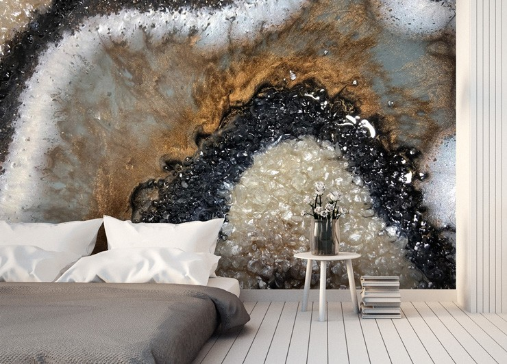 earthy geode wallpaper in bedroom