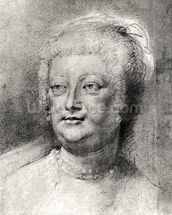 Portrait of Marie de Medici (1573-1642), 1622 ? (pierre noire and red chalk with white highlight) wall mural thumbnail