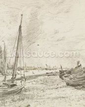 Shipping on the Thames, c.1818 (graphite on paper) mural wallpaper thumbnail