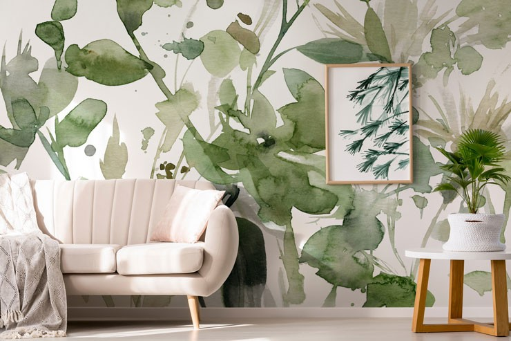 Sage plant wallpaper in living room