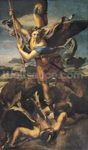 St. Michael Overwhelming the Demon, 1518 (oil on canvas) wall mural thumbnail
