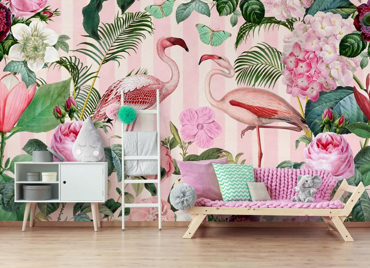 flamingo wallpaper in pink teenage girls bedroom