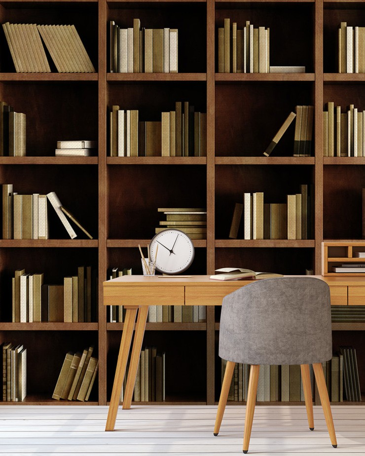 bookcase-wallpaper-in-home-office