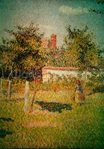 Woman in the Meadow at Eragny, Spring, 1887 (detail of 37361) (oil on canvas) wallpaper mural thumbnail