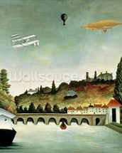 View of the Bridge at Sevres and the Hills at Clamart, St. Cloud and Bellevue, 1908 (oil on canvas) mural wallpaper thumbnail