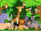 Animals In the Jungle wall mural thumbnail