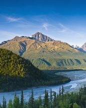 The Matanuska River And Chugach Mountains Below mural wallpaper thumbnail