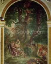 Fight between Jacob and the Angel, 1850-61 (oil and wax on plaster) (see detail 252678) mural wallpaper thumbnail