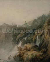 Tivoli with the Temple of the Sibyl and the Cascades, c.1796-97 (w/c over graphite on paper) wallpaper mural thumbnail