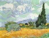 Wheatfield with Cypresses, 1889 (oil on canvas) mural wallpaper thumbnail
