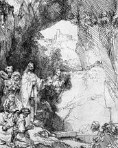 The Small Raising of Lazarus, 1644 (etching) (b/w photo) mural wallpaper thumbnail