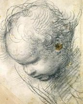 Head of a Cherub (black chalk and charcoal on paper) wallpaper mural thumbnail