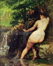 The Source or Bather at the Source, 1868 wallpaper mural thumbnail