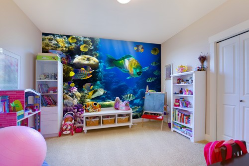 tropical fish and coral wall mural
