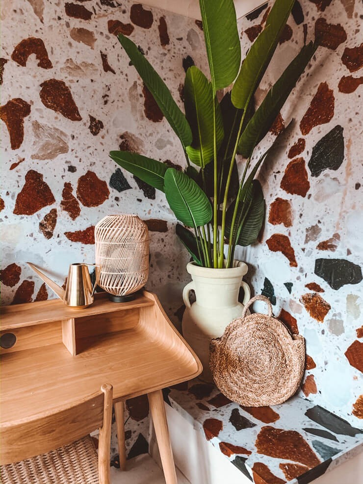 brown, white and black terrazzo wallpaper in boho home office