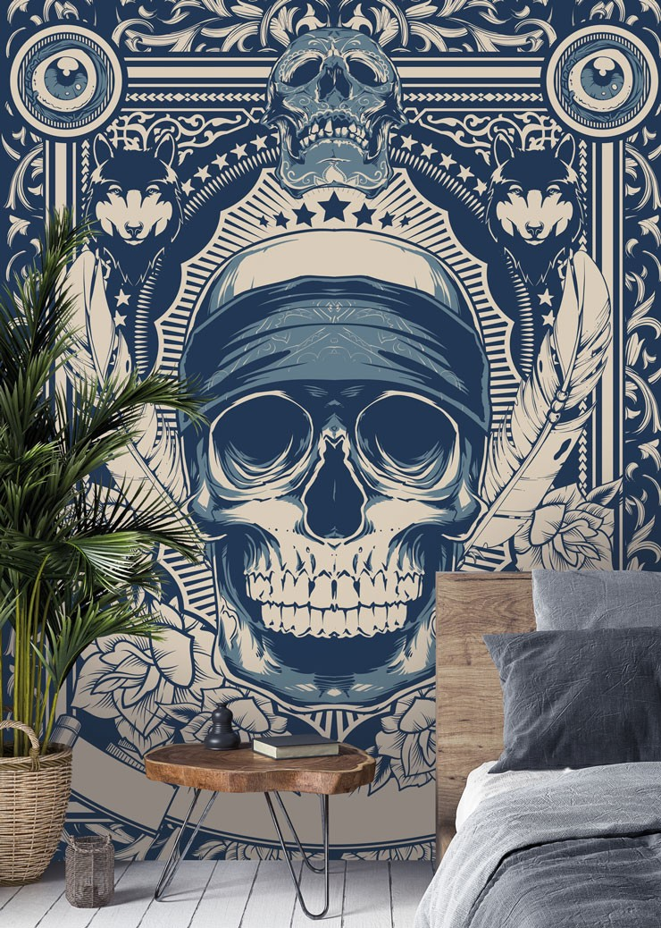 blue and white detailed skull art in blue, chilled bedroom