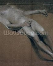 Study of a recumbent male nude (chalk on paper) wallpaper mural thumbnail