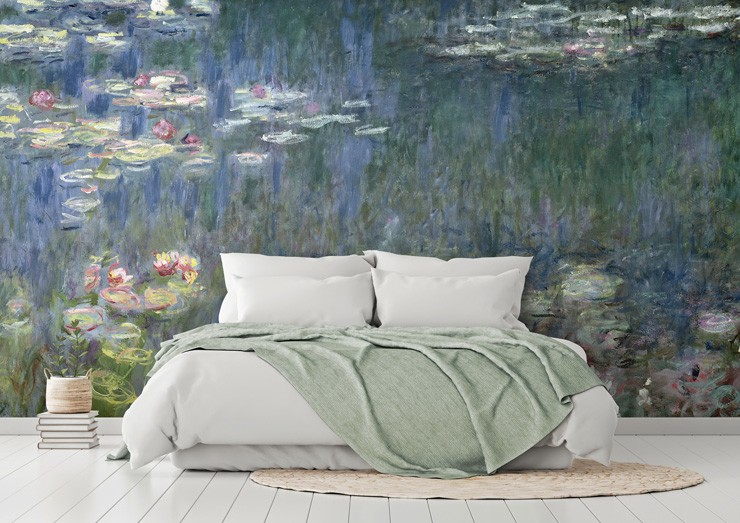 subtly painted water lily painting in white and green bedroom