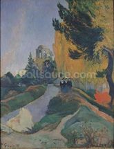 The Alyscamps, Arles, 1888 (oil on canvas) mural wallpaper thumbnail