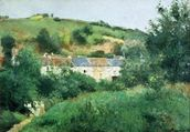 The Path in the Village, 1875 (oil on canvas) wall mural thumbnail