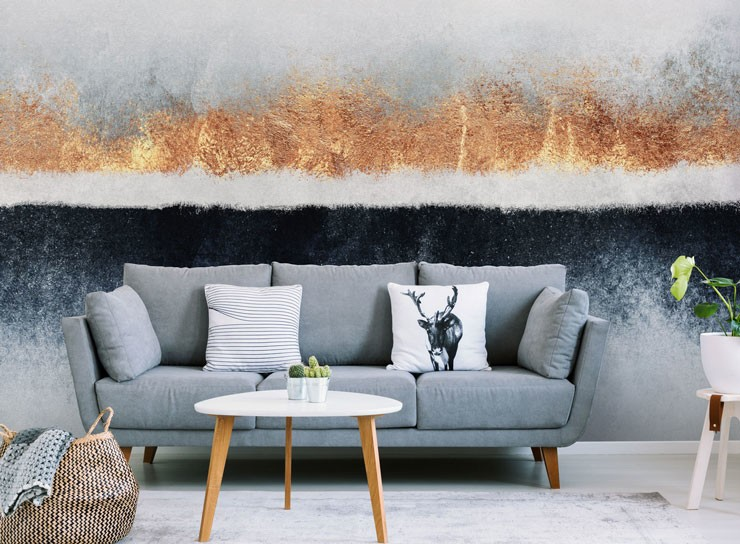 grey, gold and white abstract wallpaper in grey lounge