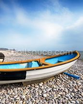 Boats at Budleigh Salterton wallpaper mural thumbnail