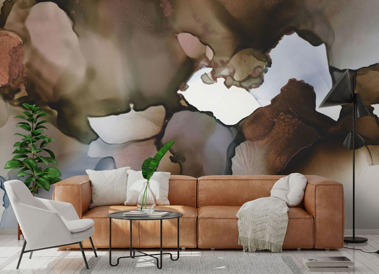 Brown and white brown autumn coloured watercolour art in living room