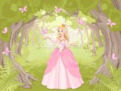 Princess in Enchanted Woodland wallpaper mural thumbnail