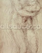 Madonna and Child (black chalk on paper) wall mural thumbnail
