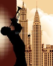 Jazz in New York mural wallpaper thumbnail