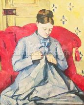 Madame Cezanne sewing mural wallpaper thumbnail