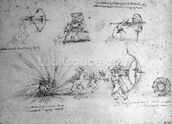 Study with Shields for Foot Soldiers and an Exploding Bomb, c.1485-88 (pen and ink on paper) wallpaper mural thumbnail