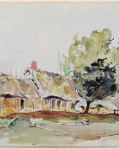 Cottage under Large Trees in Summer, c.1831 (pencil & w/c on paper) wall mural thumbnail