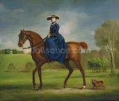 The Countess of Coningsby in the Costume of the Charlton Hunt, c.1760 (oil on canvas) wall mural thumbnail