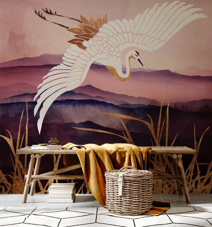 purple, gold and white bird statement wallpaper in room with cool wooden bench and mustard throw