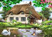 Swan cottage wall mural thumbnail