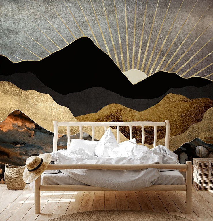 abstract landscape of mountains in boho style bedroom